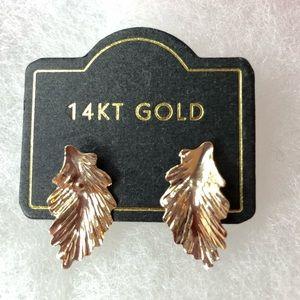14KT GOLD LEAF STUD EARRING